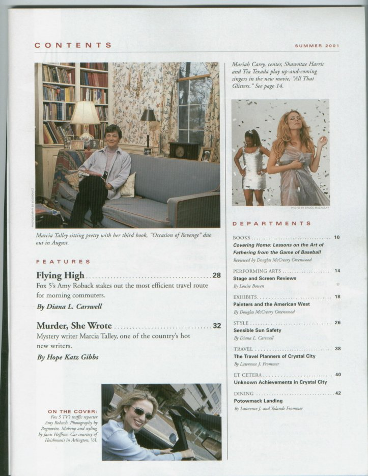 Contens page of Crystal Ciry, Etc. magazine for summer 2001, featuring an Interview with Marcia Talley