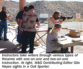 Instructors take writers through various types of firearms with one-on-one and two-on-one instruction. At right W&G Contributing Editor Gila Hayes sights in a colt Sporter