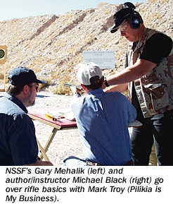NSSF's Gary Mehalik (left) and author/instructor michael Black (right) go over rifle basics with Mark Troy (Pilikia is My Business).