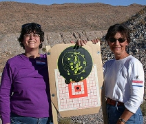 Marcia with gun target