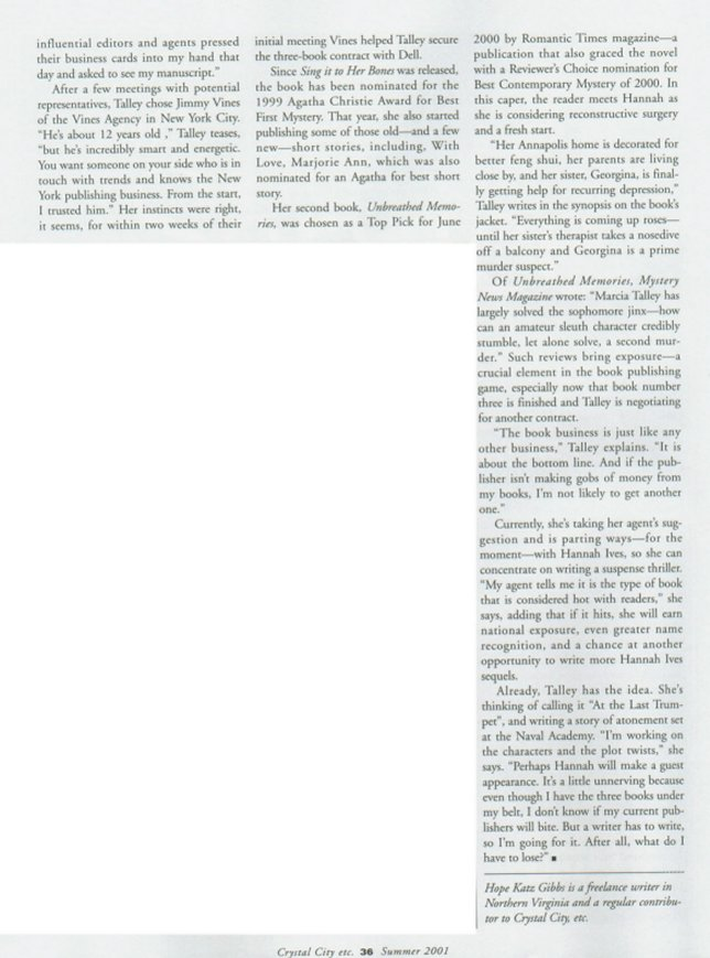 page three of the Murder, She Wrote article from Crystal City, Etc., magazine