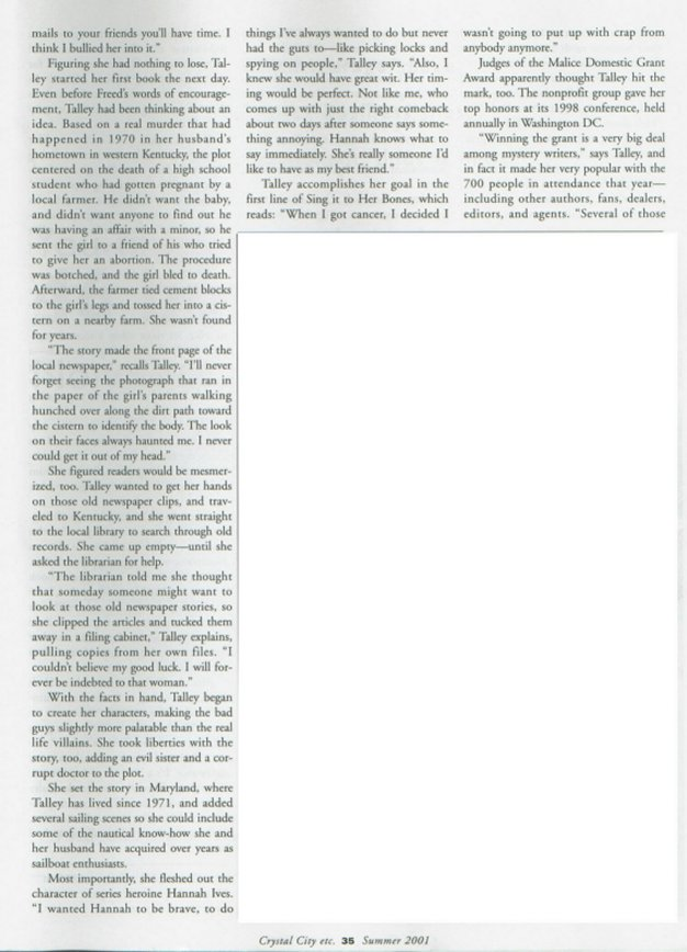 page two of the Murder, She Wrote article from Crystal City Etc. magazine